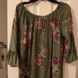 Olive shirt with floral design